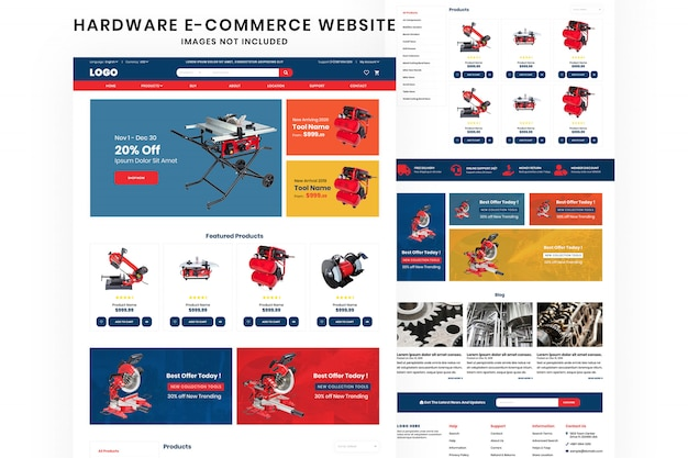Hardware tools website design template