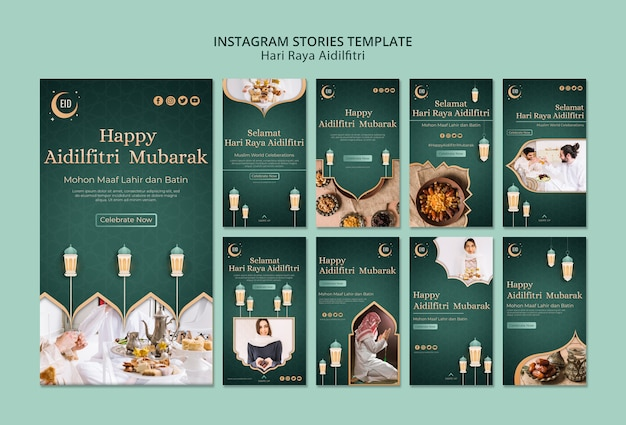 Hari raya aidilfitri concept instagram stories template