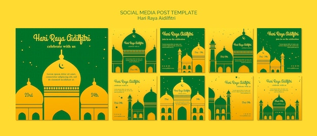 Hari raya aidilfitri posts template with illustration