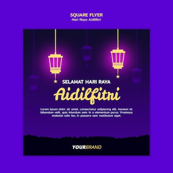 Hari raya aidilfitri square flyer template with lanterns