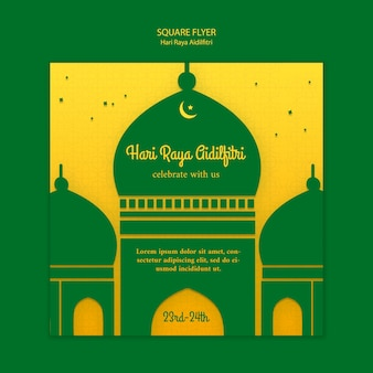 Hari raya aidilfitri square flyer with illustration