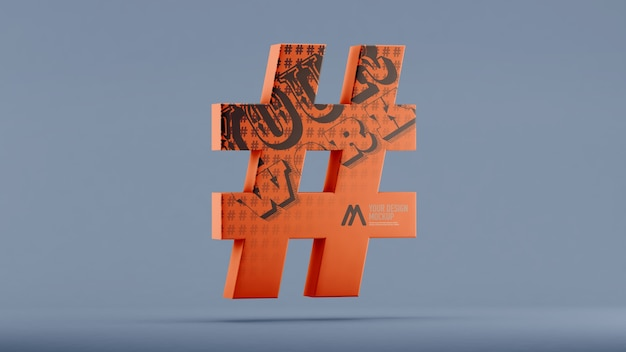 Hashtag mockup in 3d rendering isolated