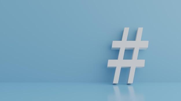 Hashtag sign on pastel blue 3d illustration