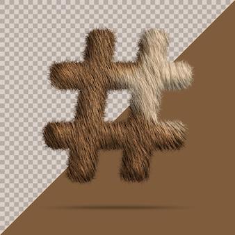 Символ хештега с реалистичным 3d мехом