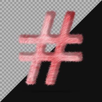 Символ хэштега с реалистичным 3d мехом