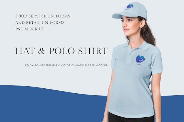 Hat and polo shirt psd mockup food service and retail uniform