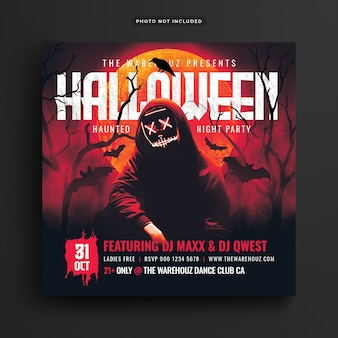 Haunted halloween party flyer social media post and web banner