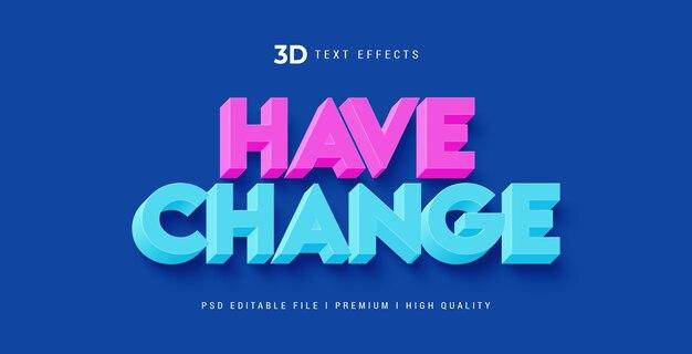 Изменить шаблон эффекта стиля текста 3d