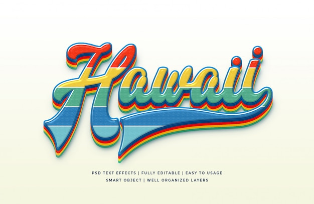 Hawaii 3d text style effect