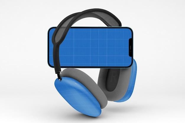 Head phones & smart phone mockup
