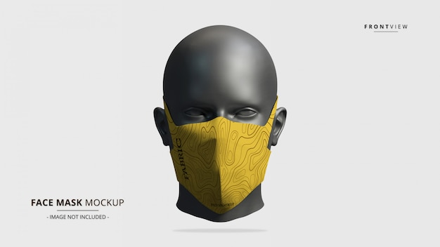 Headloop face mask mockup front view - женский манекен