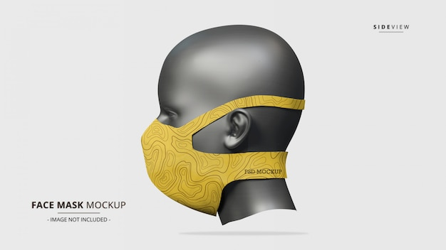 Headloop face mask mockup side view - female mannequin