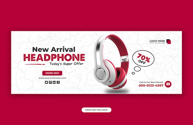 Headphone brand product facebook cover banner design template