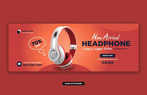 Headphone brand product facebook cover banner design