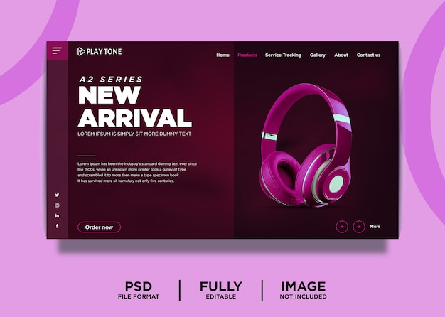 Headphone brand product landing page template