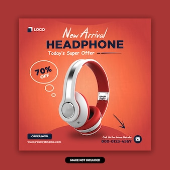 Headphone brand product social media banner design template