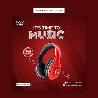 Headphone brand product social media and instagram post template