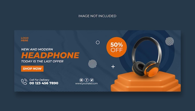 Headphone facebook cover and web banner template