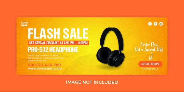 Headphone music sale facebook cover banner template