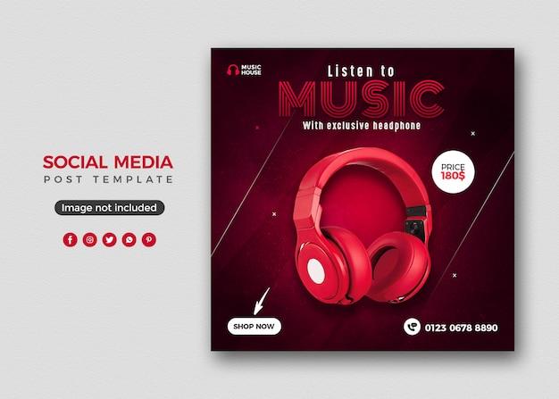Headphone social media post banner template