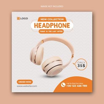Headphone square social media post banner template