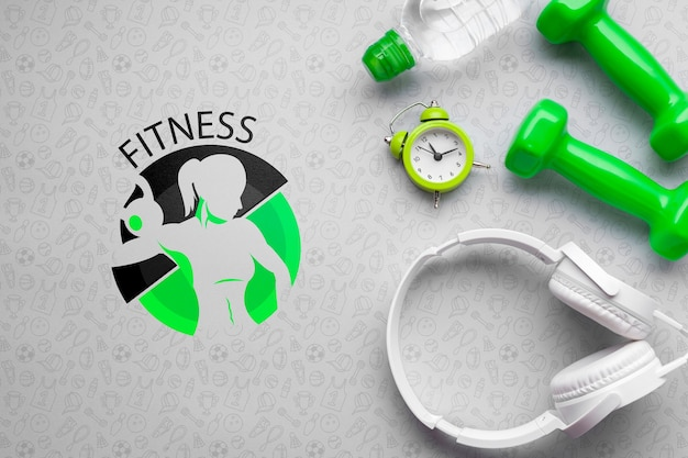 Headphones and fitness class equipment