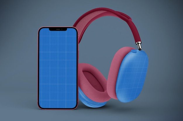 Headphones max & phone mockup