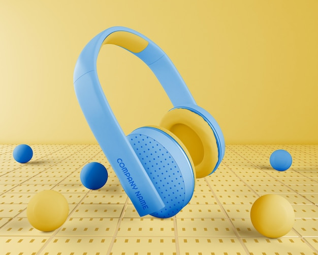 Headset with blue headphones