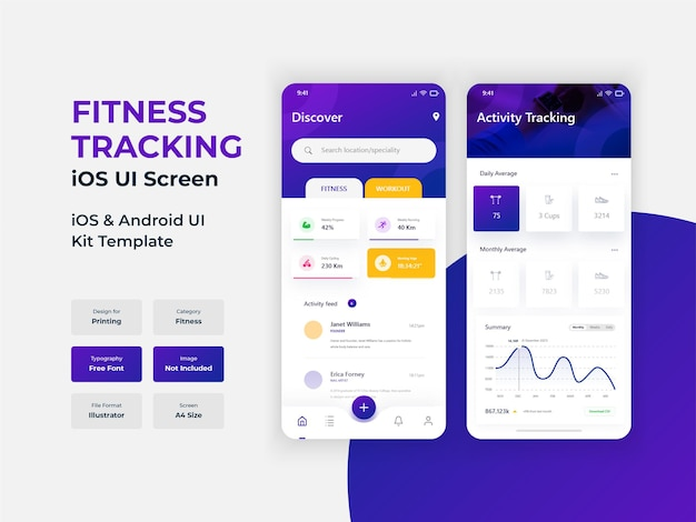 Health and activity tracking modern mobile app ui