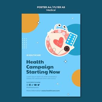 Modello di poster della campagna sanitaria