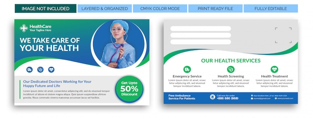 Health care medical eddm postcard template