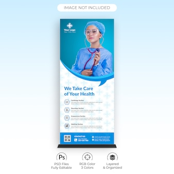 Health care medical roll up banner template
