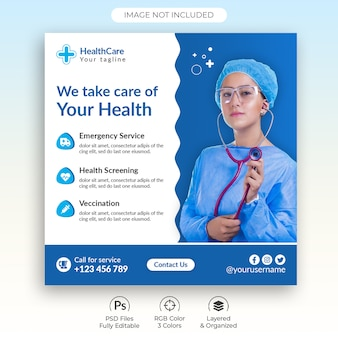 ヘルスケア医療ソーシャルメディア投稿テンプレート