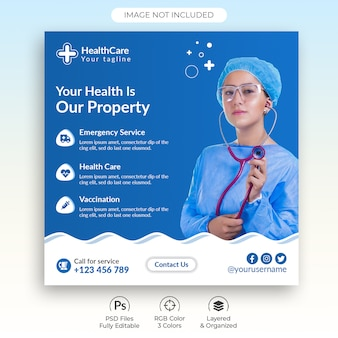 Health care medical social media post template