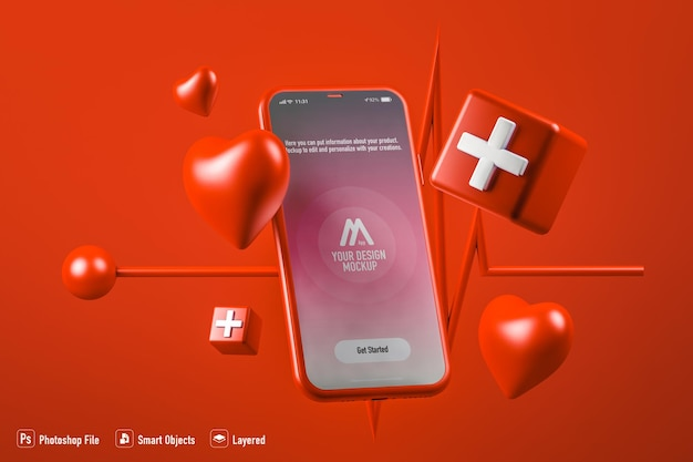 Health care mobile application mockup isolated on red background