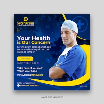 Health coronavirus or covid-19 square social media post banner template