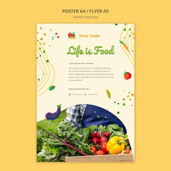 Шаблон плаката ко дню здорового питания