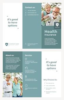 Modello di brochure di assicurazione sanitaria psd con testo modificabile