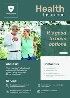 Modello di poster di assicurazione sanitaria psd con testo modificabile