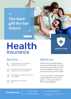 Health insurance poster template psd with editable text