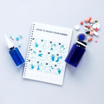 Health medicine on table