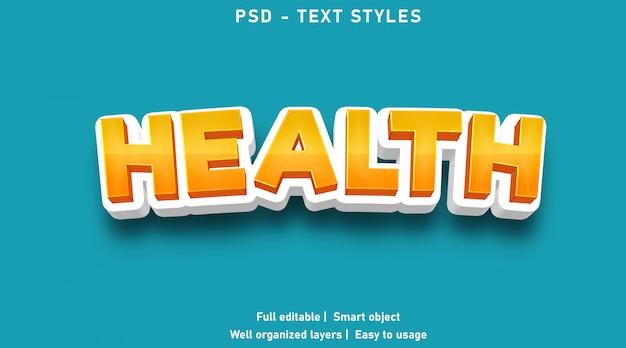 Текстовые эффекты в стиле здоровья редактируемые psd