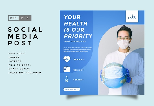 Шаблон продвижения публикации в социальных сетях здравоохранения и медицины