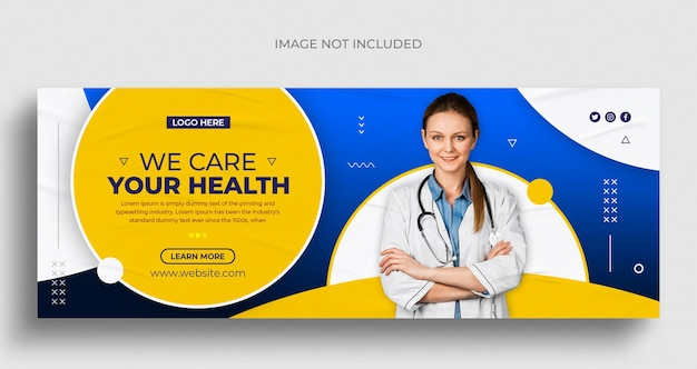 ヘルスケアおよび医療ソーシャルメディアのwebバナーとfacebookのカバー写真デザインテンプレート