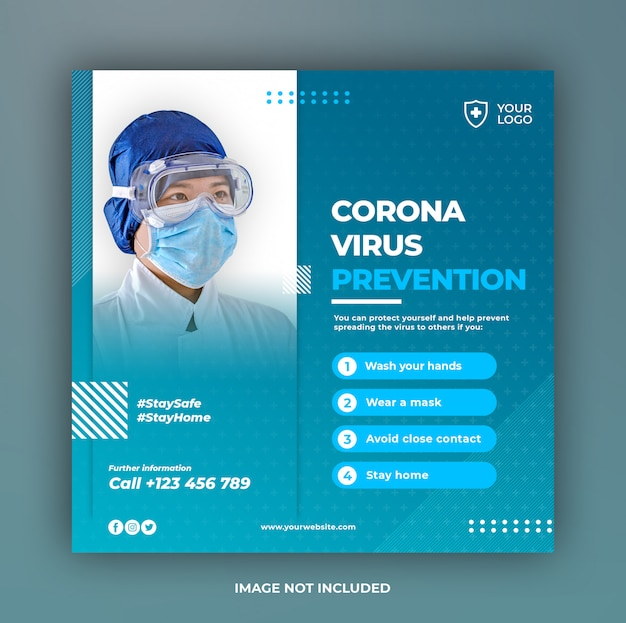 소셜 미디어 게시물 템플릿 바이러스 예방 테마가있는 의료 배너 또는 사각형 전단지