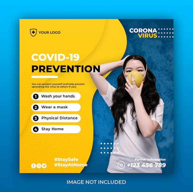 Healthcare banner with virus prevention theme