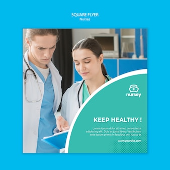 Healthcare concept square flyer design