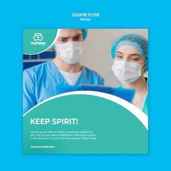 Healthcare concept square flyer template