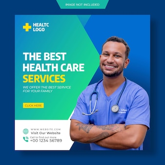 Healthcare consultant web banner or square flyer for social media post template premium psd