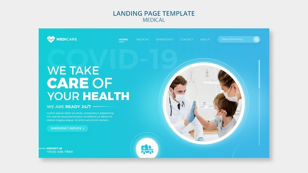 Healthcare landing page template